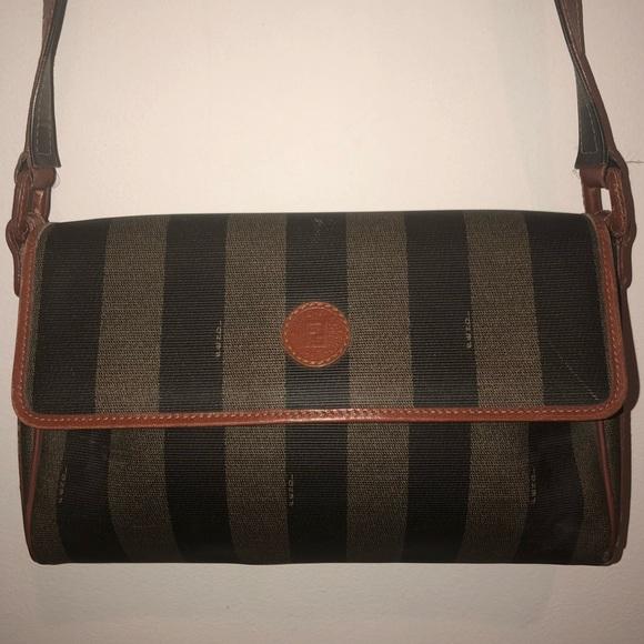 ac1fb3e283af Fendi Handbags - Vintage Fendi Leather Canvas Cross Body Bag